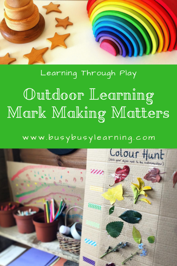 Mark making matters - early writing - learning through play - outdoor learning - Mud kitchen