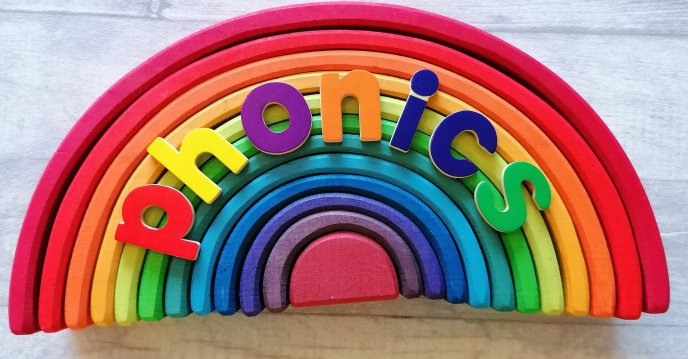 Word phonics on a Grimms rainbow
