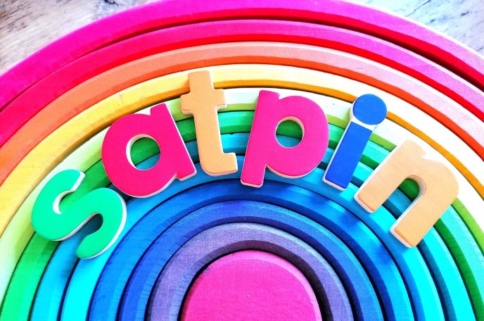 satpin letters on Grimms rainbow - phase 2 phonics - phases