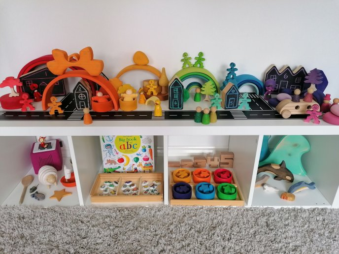 Toy Shelfie - Toy rotation - toy organisation - toy organization - top toys 2 year old and 3 year old - perpetual calendar - loose parts - open ended toys - traditional tales - three little pigs - waldorf inspired