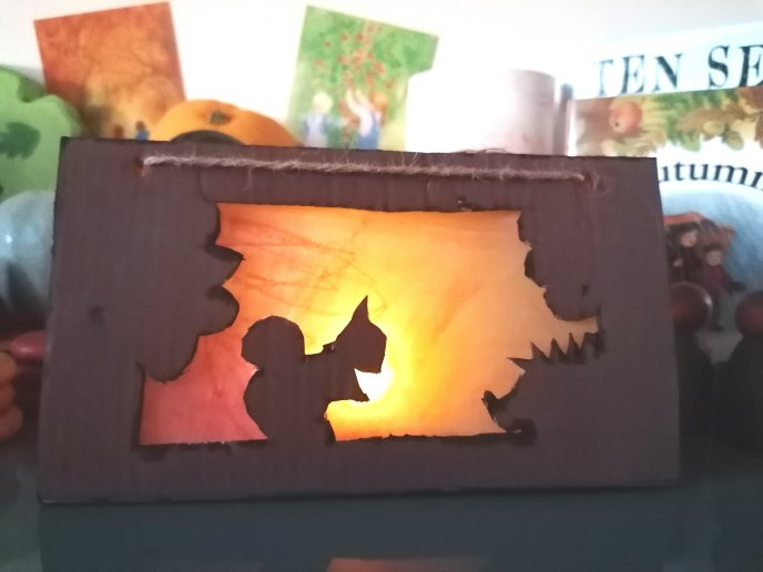 Autumn arts and crafts - autumn lanterns - pumpkin lantern and silhouette lantern for your nature table or seasonal display. Fall craft ideas - squirrel - hedgehog - pumpkin.
