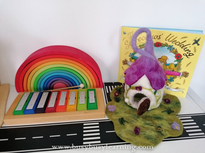 dolls house - wooden toys - ambrosius fairies - felted house - fairy house - grimms rainbow - rainbow glockenspiel - Scarewcrow's wedding - julia donaldson - singing mermaid - mermaid - ostheimer mermaid - black's toys volcano - volcano - lanka kade - dinosaurs - usborne books - Kerri's childminding - chalk houses - a seed is sleepy - enwc - exploring nature with children - olli ella - tiny - fabric doll - autumn - Gerda Muller - block play - small world play - bookish play - kids books - toy shelf - toy shelfie - toy organisation - toy organization - toy rotation - toy storage