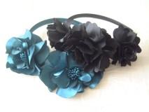 The satin flower headbands.
