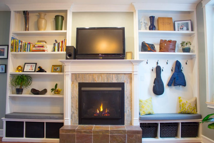 Fireplace with Built In Shelves