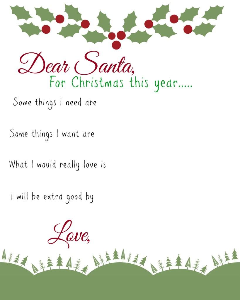 Dear Santa Printable