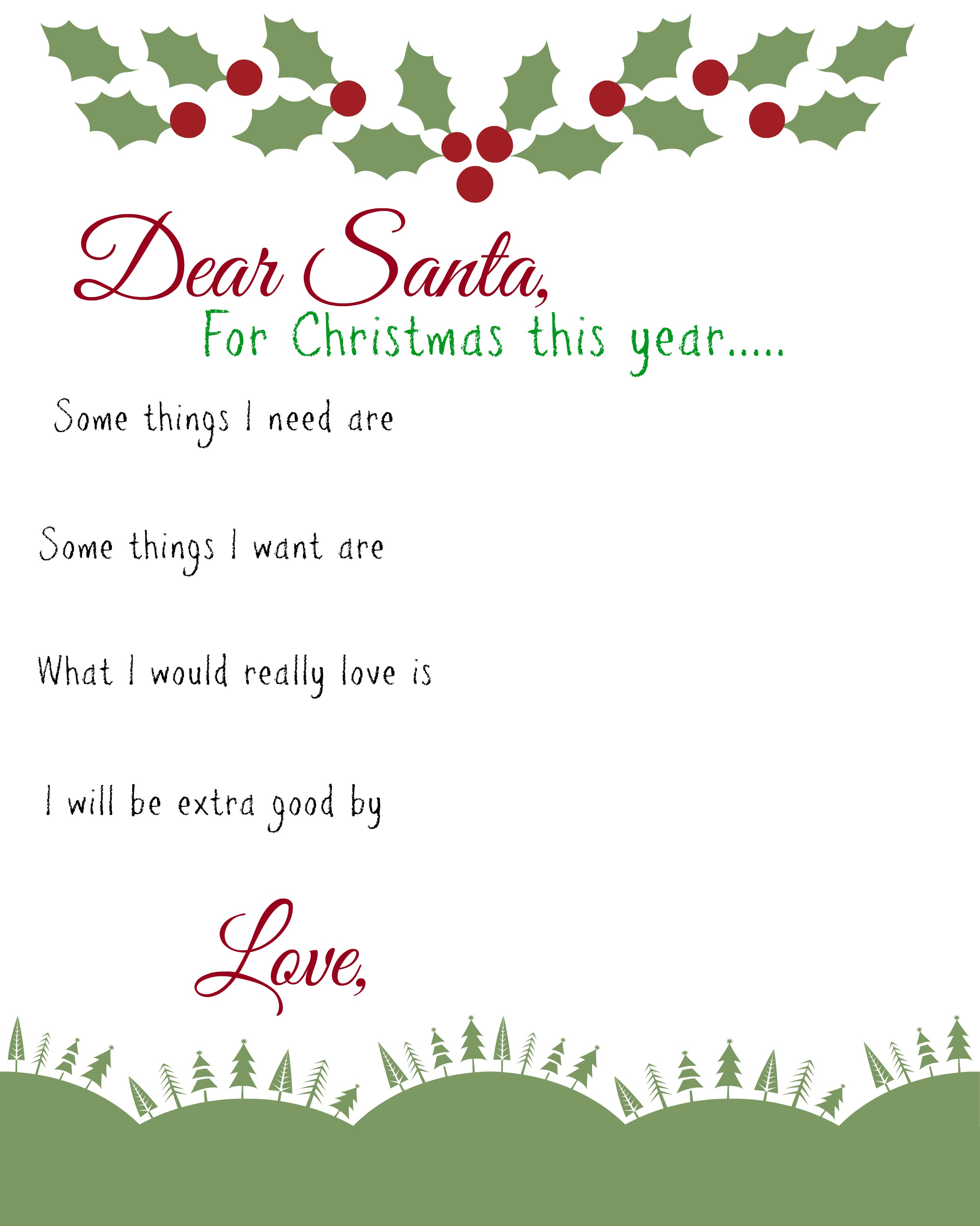 image about Santa Wish List Printable named Pricey Santa: Little ones Motivation Listing Printable - Chaotic Mothers Helper