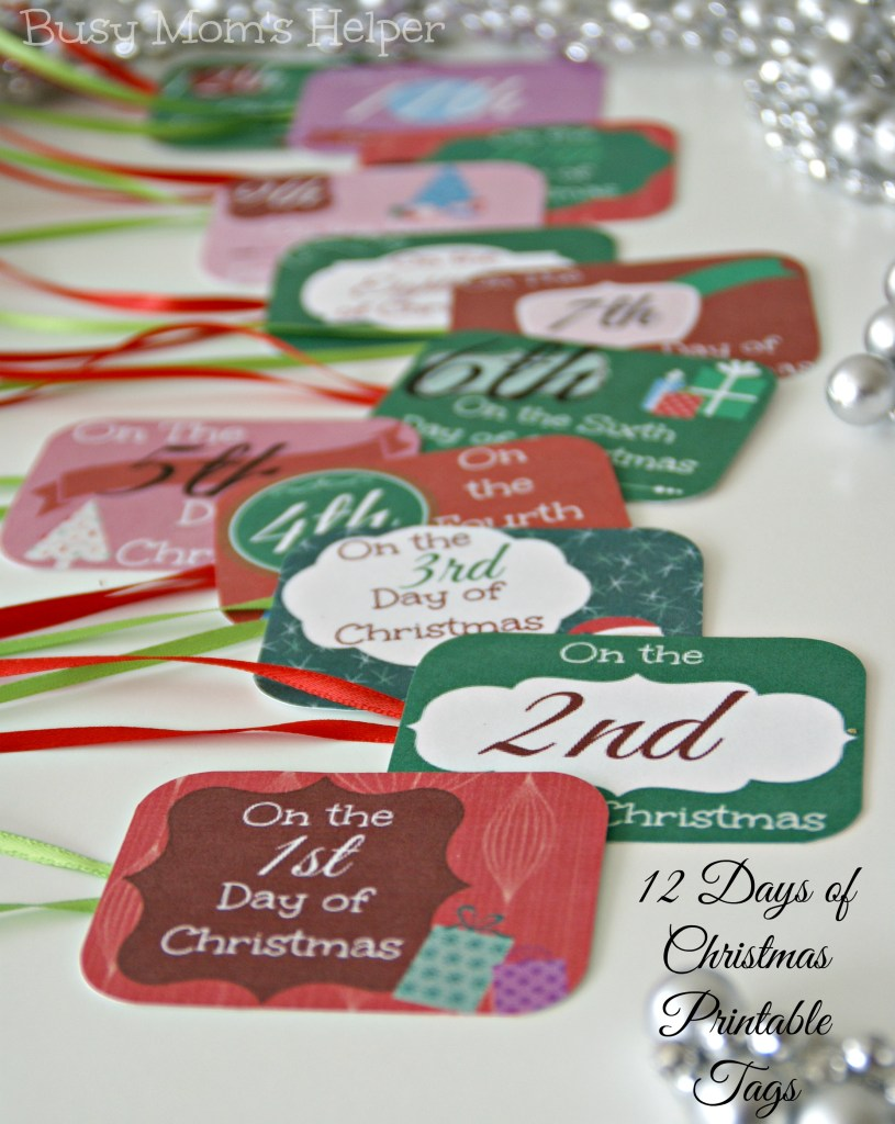 12 Days of Christmas Printable Tags / Busy Mom's Helper