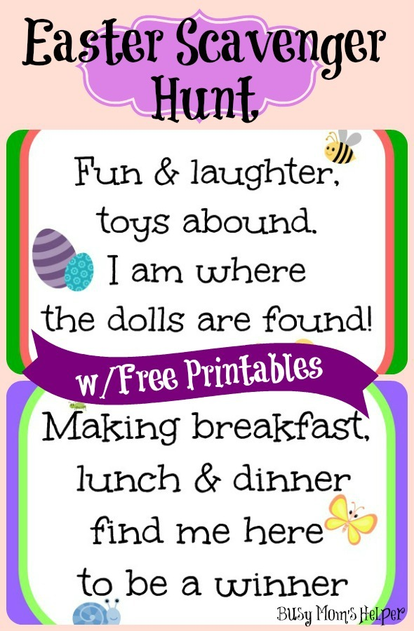 Easter Scavenger Hunt with Free Printables / by BusyMomsHelper.com #Easter #freeprintables #egghunt #Easterhunt #scavengerhunt