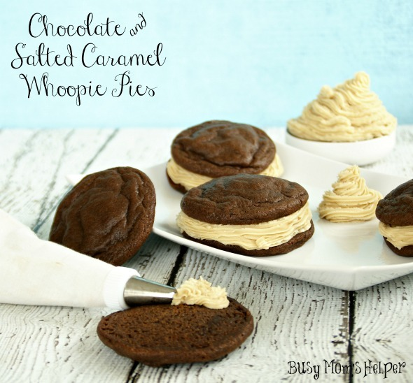 Chocolate and Salted Caramel Whoopie Pie / by www.BusyMomsHelper.com #chocolate #whoopiepies #saltedcaramel #frosting