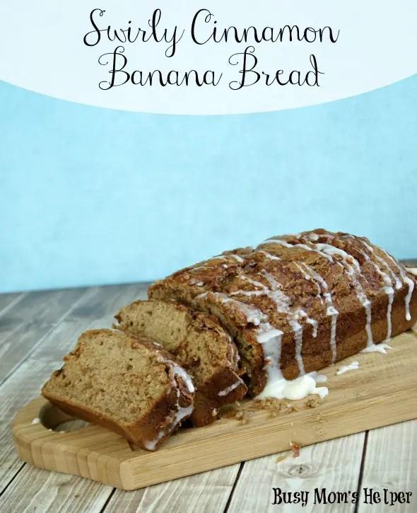 Swirly Cinnamon Banana Bread / by www.BusyMomsHelper.com via TheFrugalFoodieMama.com #bananabread #bread