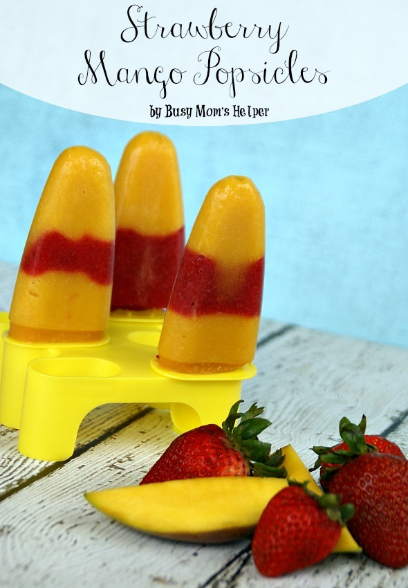 Strawberry Mango Popsicles / by Busy Mom's Helper #popsicles #fruitpops #4thofjuly #frozentreat