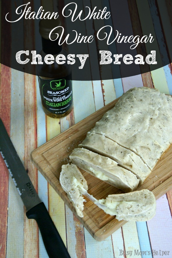 Italian White Wine Vinegar Cheesy Bread / by Busy Mom's Helper #breadrecipe #lovemyvinegar #shop