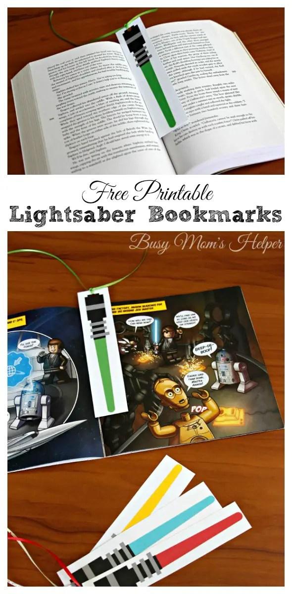 photo regarding Lightsaber Printable named Star Wars Lightsaber Bookmarks - Chaotic Mothers Helper