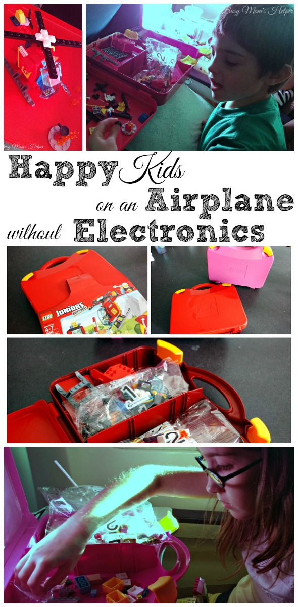 Happy Kids on an Airplane without Electronics / by Busy Mom's Helper #LEGOSummer #CleverGirls #ad @Lego
