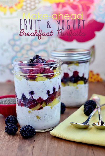 Make-ahead Fruit & Yogurt Parfaits / by Iowa Girl Eats / Round up by Busy Mom's Helper
