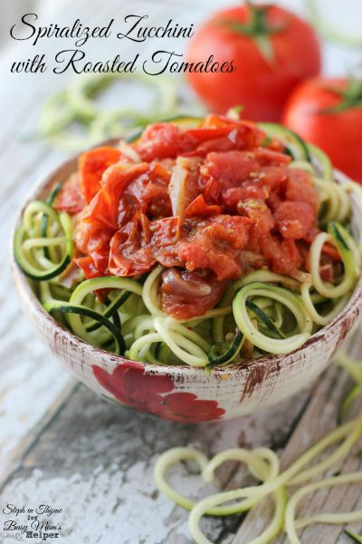Spiralized Zucchini with Roasted Tomatoes / by Steph in Thyme for Busy Mom's Helper