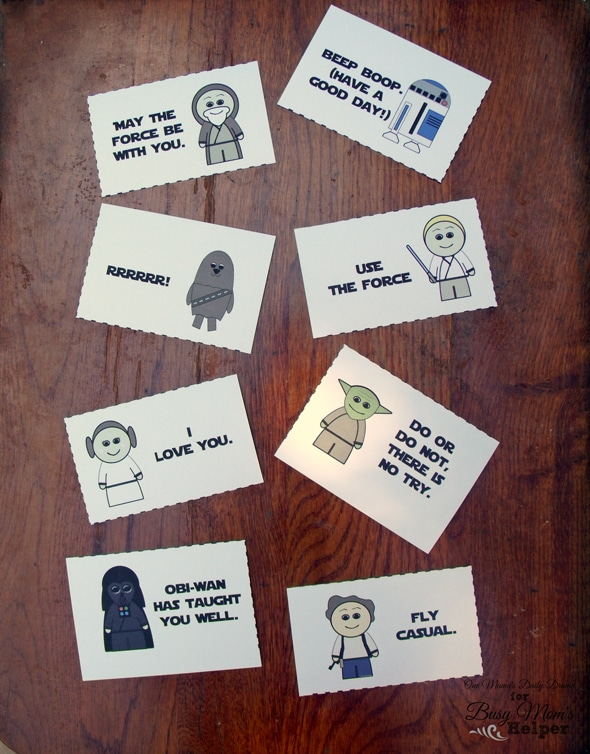Printable Star Wars Lunch Box Notes | One Mama's Daily Drama for Busy Mom's Helper