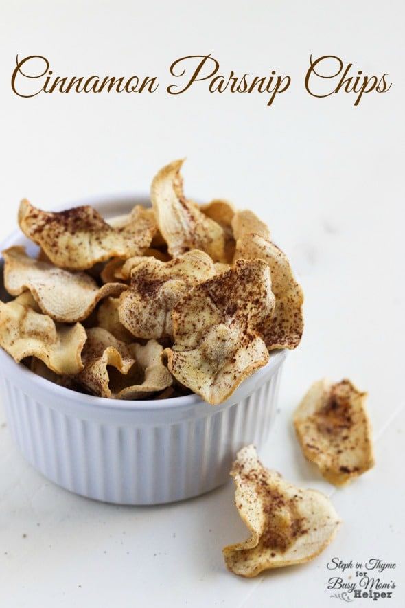 Baked Cinnamon Parsnip Chips l Steph in Thyme for Busy Mom's Helper
