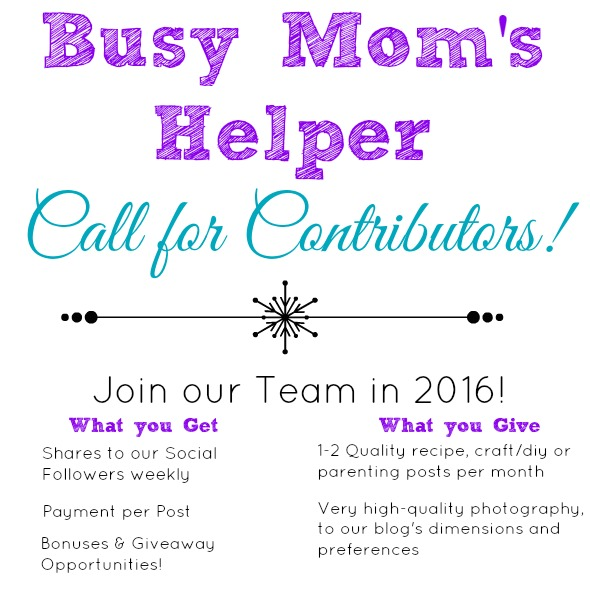 Join the Busy Mom's Helper 2016 Team! www.busymomshelper.com