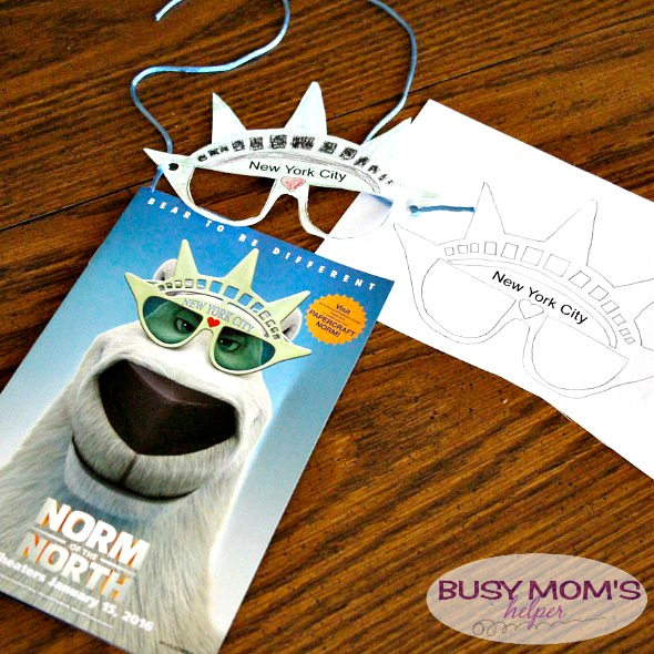 NYC Sunglasses Printable from Norm of the North movie / super fun sunglass cut-out for kids! by busymomshelper.com #BreaktheNorm #IC #ad