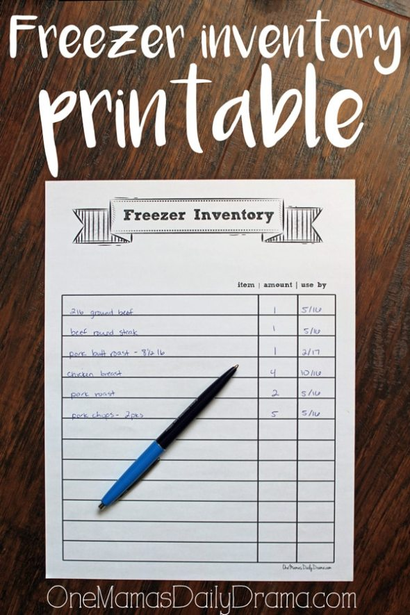 Freezer inventory printable | One Mama's Daily Drama
