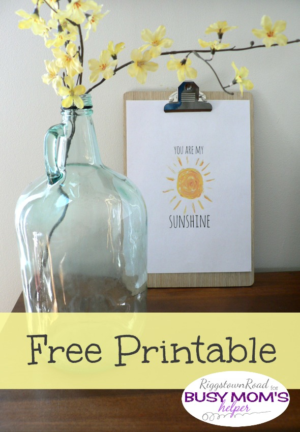 Sunshine Printable by Riggstown Road for Busy Mom's Helper