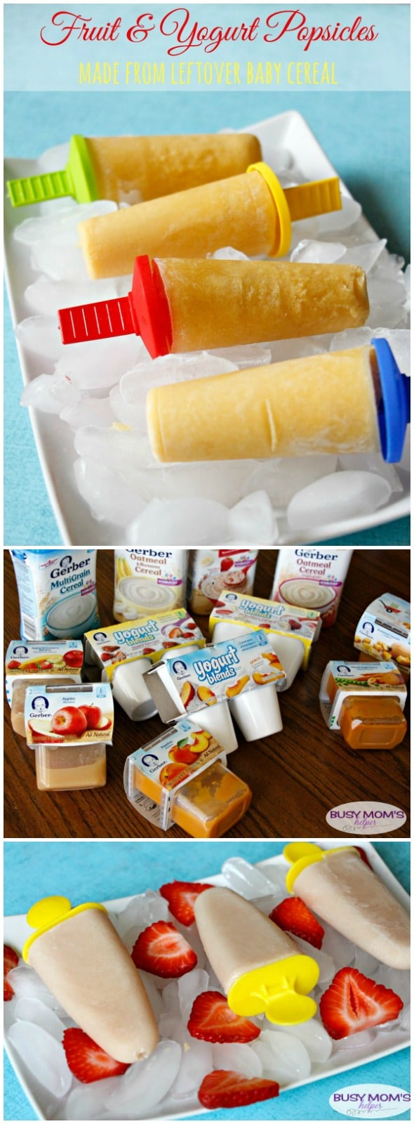 Fruit & Yogurt Popsicles / by BusyMomsHelper.com / Homemade Popsicles / Great recipes for leftover baby food #ad #CookingWithGerber
