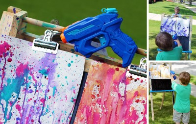 Squirt Water Gun painting with kids