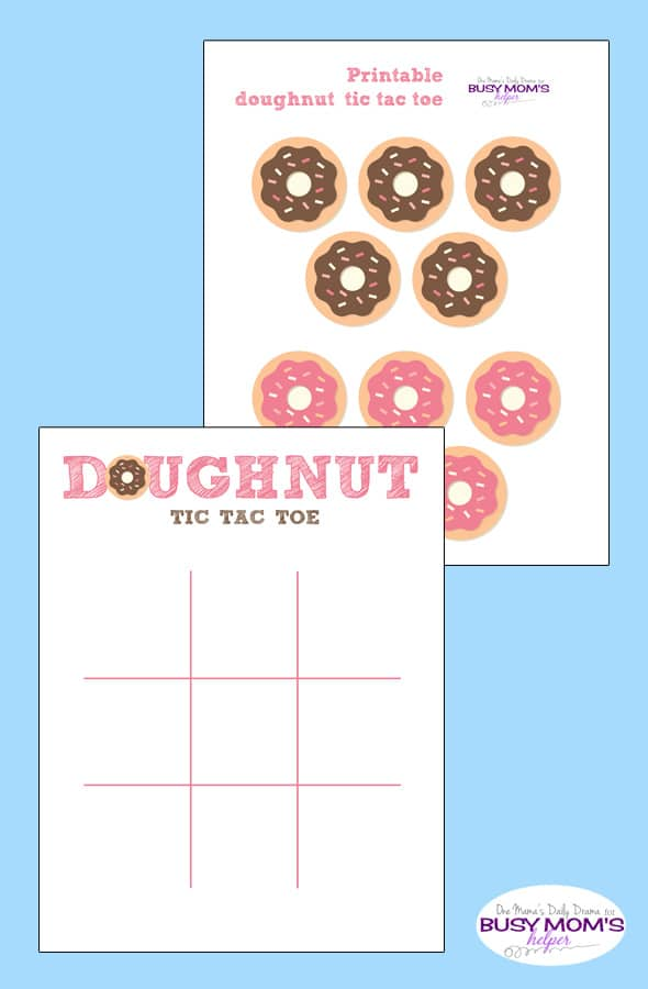 Printable Doughnut Tic Tac Toe Game Busy Moms Helper