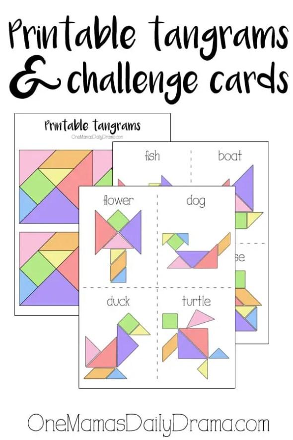 Printable tangrams from OneMamasDailyDrama.com