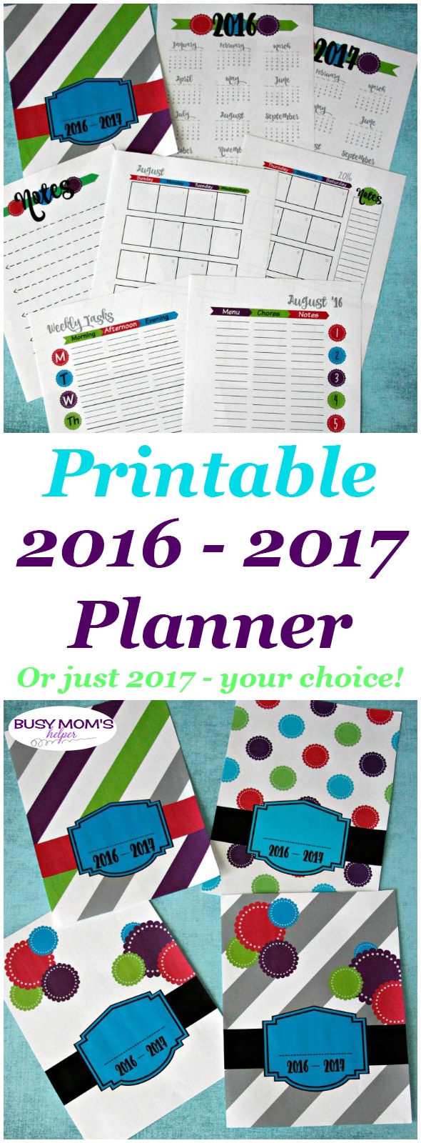 Printable 2016-2017 Planner in bright colors / Also available: Printable 2017 Planner in bright colors (ad)