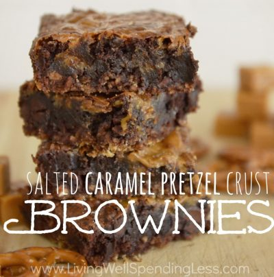 Salted Caramel Pretzel Crust Brownies