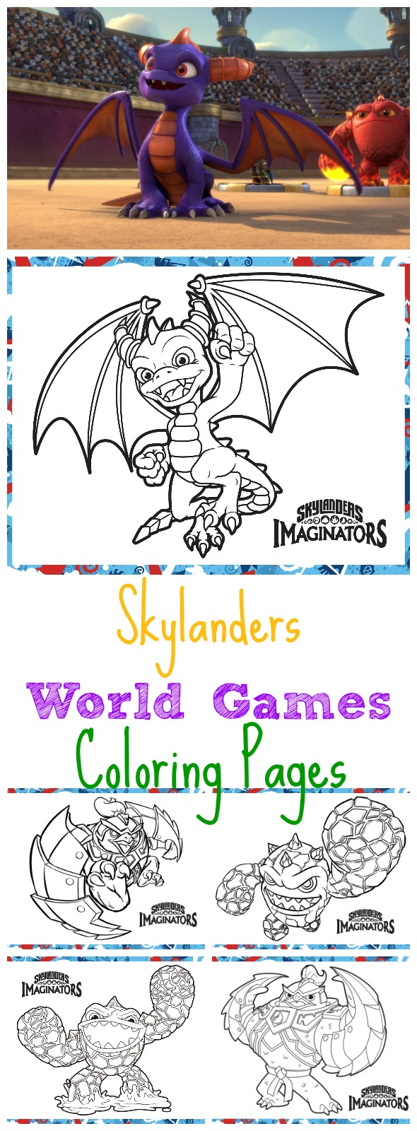 Skylanders World Games Coloring Pages (free printable activities for kids - not sponsored)