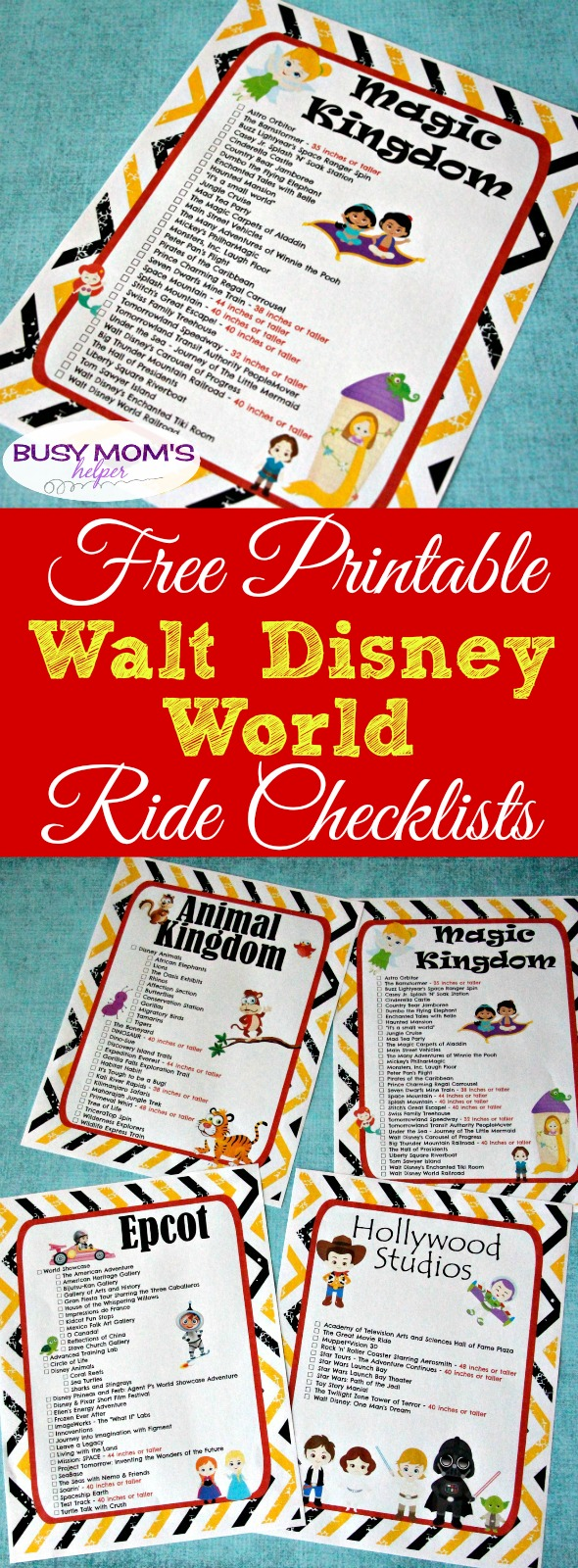 picture about You Re Going to Disney World Printable named No cost Printable Walt Disney Worldwide Experience Checklists - Active Mothers