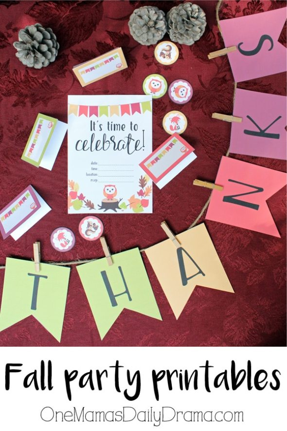 Fall party printables with cute woodland creatures | OneMamasDailyDrama.com