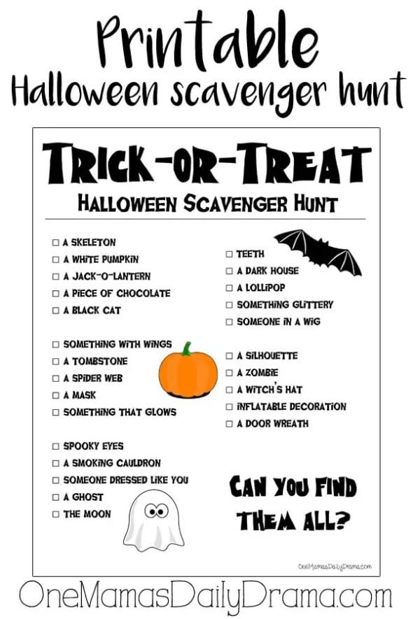 Printable Halloween scavenger hunt for kids | OneMamasDailyDrama.com