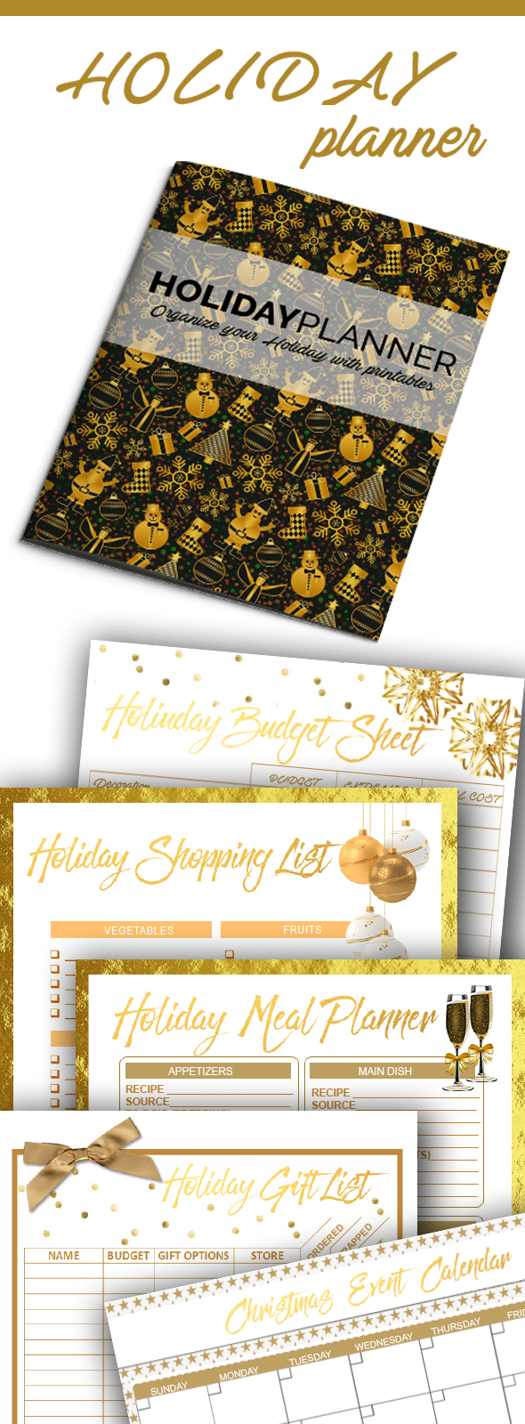 Printable Holiday Planner / You'll love these printable organization sheets and lists to get your holiday more organized. Budget sheet, gift list, menu planning, event calendar and shopping lists!