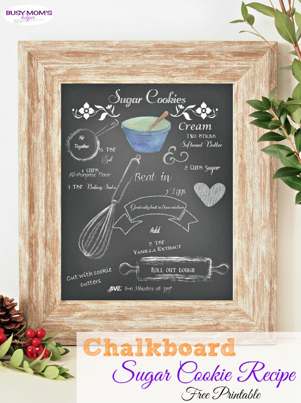 Chalkboard Sugar Cookie Recipe Printable /  you'll love this printable sugar cookie recipe!