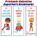 Printable Valentine Superhero Bookmarks
