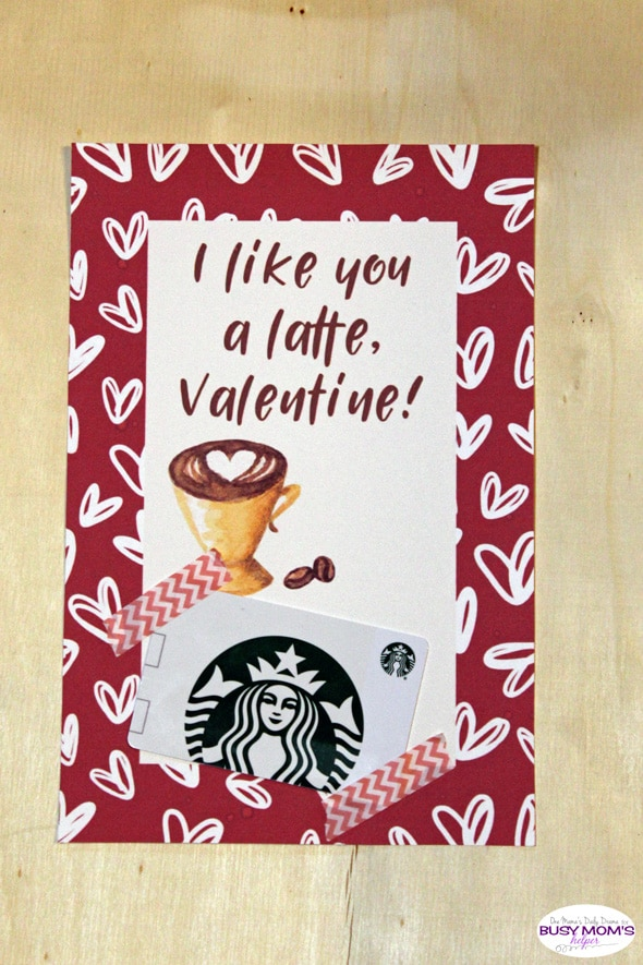 "Printable Valentine's Day Teacher Gift Card Holder - ""I like you a latte, valentine!"""