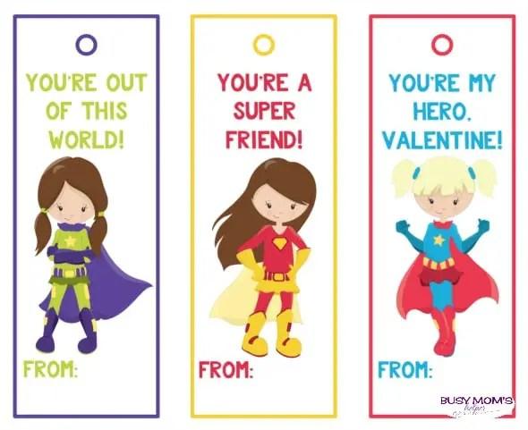 Superhero Girl Valentine Bookmarks