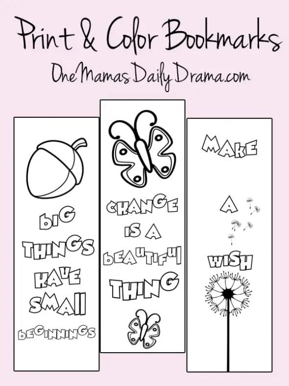 Free printable spring print & color bookmarks | OneMamasDailyDrama.com