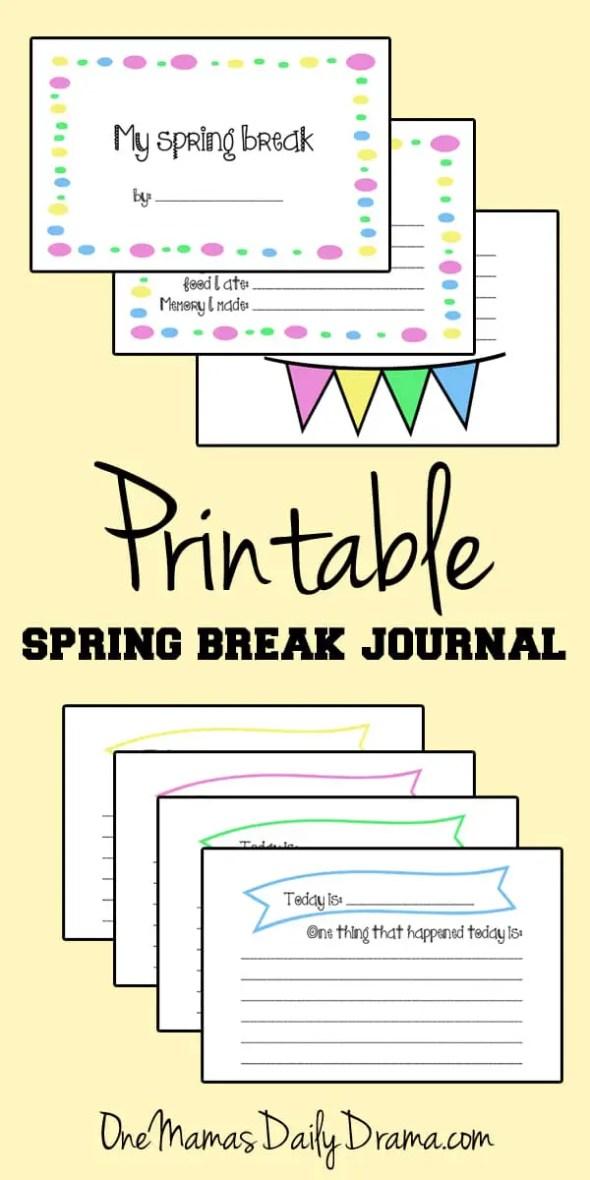 Free printable spring break journal for kids | OneMamasDailyDrama.com