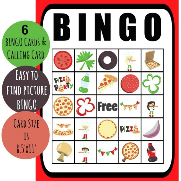 photograph regarding Printable Pizza identified as Absolutely free Printable Pizza Get together Bingo - Active Mothers Helper