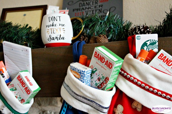 Teacher Gift Idea: Survival Kit - customize cheap, plain stockings to make a super EASY, cute & fun Teacher survival kit - the perfect teacher gift to get them through the year! #AD #StockedWithLove @bandaidbrand @Target