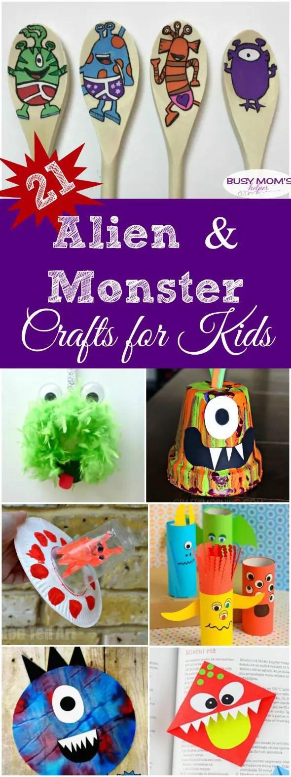 21 Alien and Monster Crafts for Kids #kidcrafts #aliens #monsters #craftsforkids