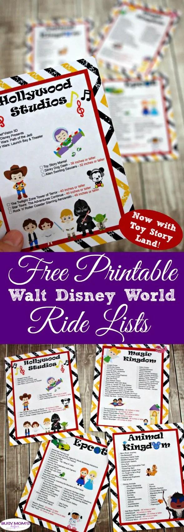 Updated Printable Walt Disney World Ride List now including Toy Story Land! #wdw #freeprintable #printable #waltdisneyworld #disney #ridelist #themepark #travel #family #magickingdom #epcot #hollywoodstudios #animalkingdom