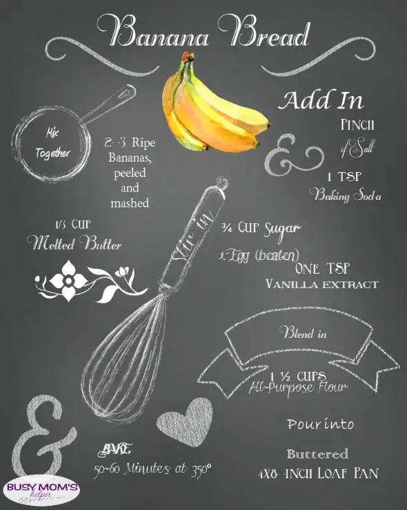 Free Printable Banana Bread Recipe Chalkboard Art #printable #freeprintable #chalkboard #art #bananabread #recipe #breadrecipe