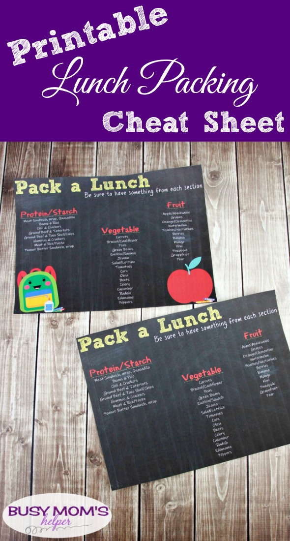 Printable Pack a Lunch Cheat Sheet #printable #kids #packlunch #school #schoollunch #lunchprintable