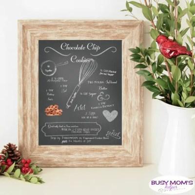 Free Printable Chalkboard Style Chocolate Chip Cookie Recipe #printable #chocolatechipcookie #recipe #dessert #homedecor #printabledecor #freeprintable #chalkboardstyle